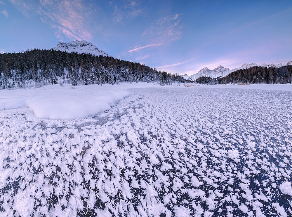 Panoramic of ice crystals at Lej da Staz, St. Moritz, Engadine, Canton of Graubunden (Grisons), Switzerland, Europe