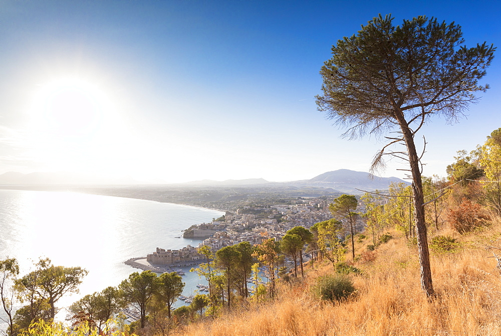 Elevated view of Castellammare del Golfo, province of Trapani, Sicily, Italy, Mediterranean, Europe
