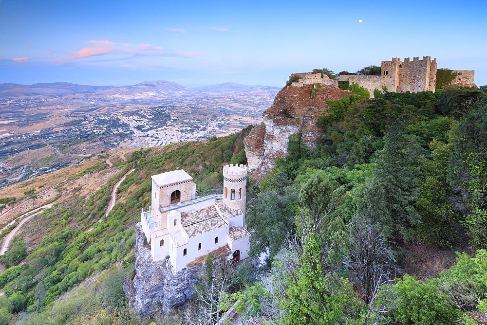 Torretta Pepoli and Castello di Venere, Erice, province of Trapani, Sicily, Italy, Europe