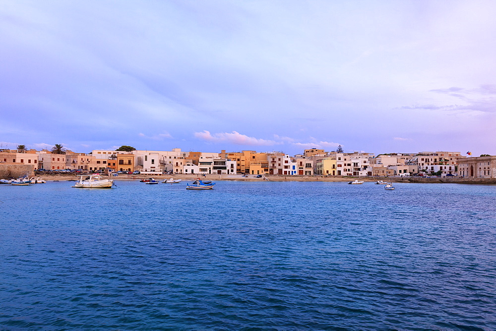 Harbor at dusk, Favignana island, Aegadian Islands, province of Trapani, Sicily, Italy, Mediterranean, Europe