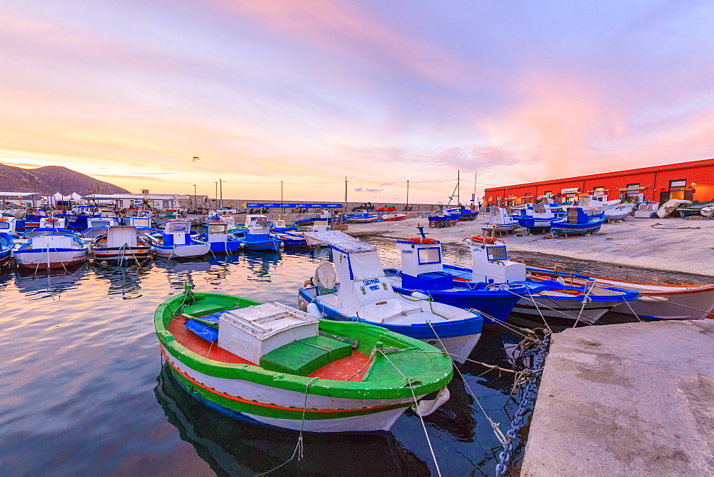 Fishing boats at the harbor, Favignana island, Aegadian Islands, province of Trapani, Sicily, Italy, Mediterranean, Europe