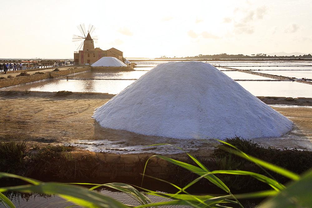 Piles of salt at Saline Ettore e Infersa, Saline Della Laguna, Marsala, province of Trapani, Sicily, Italy, Mediterranean, Europe