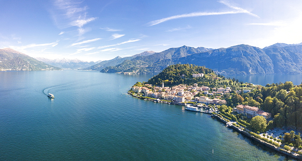 Panoramic aerial view of Lake Como and the village of Bellagio, Province of Como, Lombardy, Italian Lakes, Italy, Europe (Drone) - 1179-2915