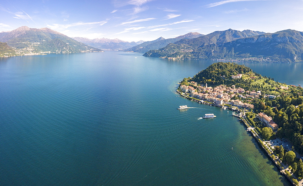 Panoramic aerial view of Bellagio on green promontory surrounded by Lake Como, Province of Como, Lombardy, Italian Lakes, Italy, Europe (Drone) - 1179-2917