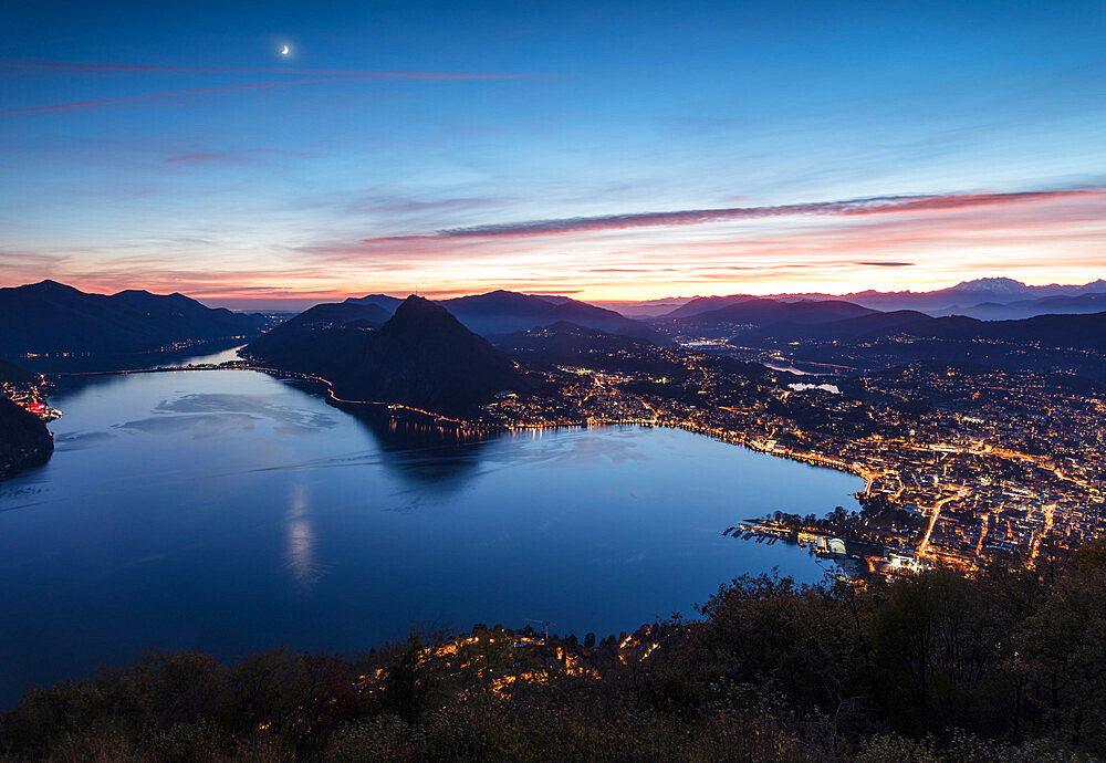 Lake Lugano at sunset seen from Monte Bre, Canton of Ticino, Switzerland, Europe