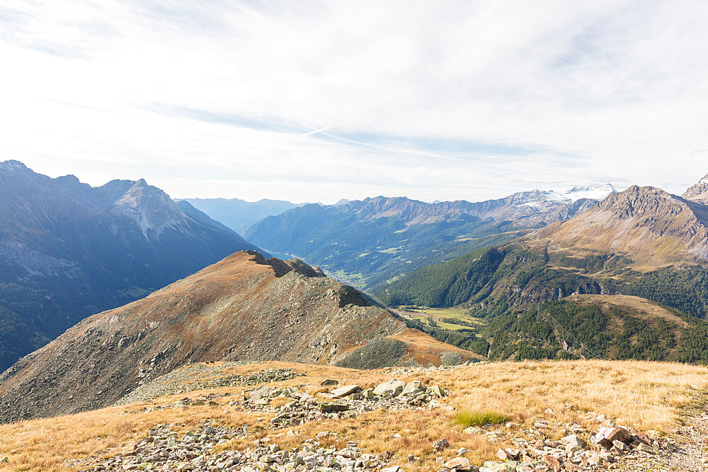 View of Poschiavo Valley from Piz Campasc, Bernina Pass, Engadine, canton of Graubunden, Switzerland, Europe