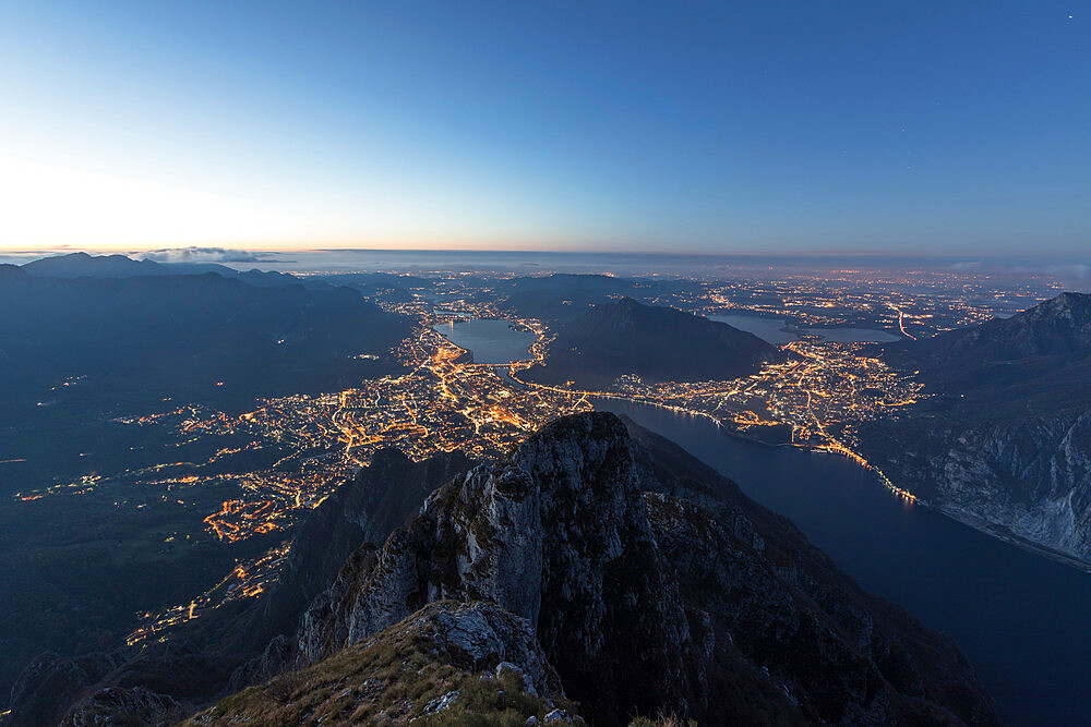 Overview of Lecco at sunrise from Monte Coltignone, Lombardy, Italy - 1179-2991