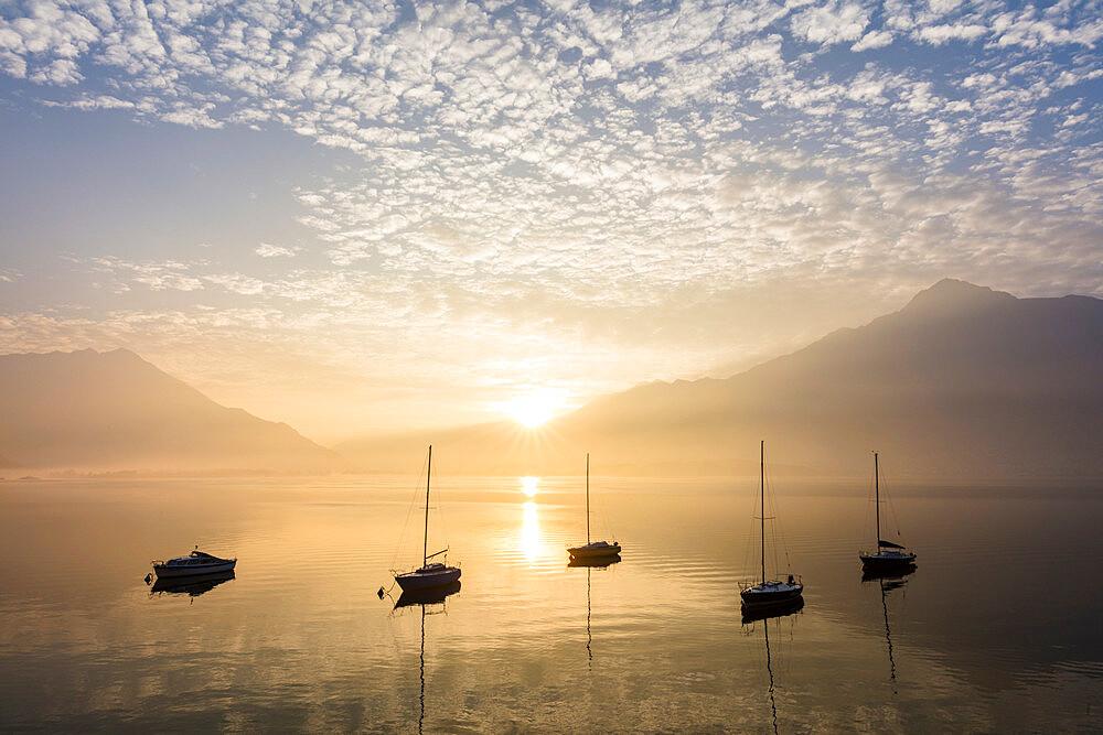 Boats at sunrise, Domaso, Lake Como, Lombardy, Italy - 1179-2993