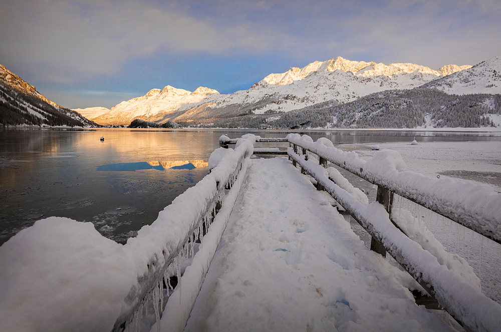 Walkway covered with snow, Lake Sils, Plaun da Lej, Maloja Region, Canton of Graubunden, Engadine, Switzerland, Europe