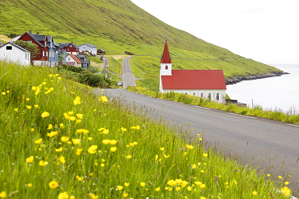 Traditional village of Husar, Kalsoy Island, Faroe Islands, Denmark, Europe