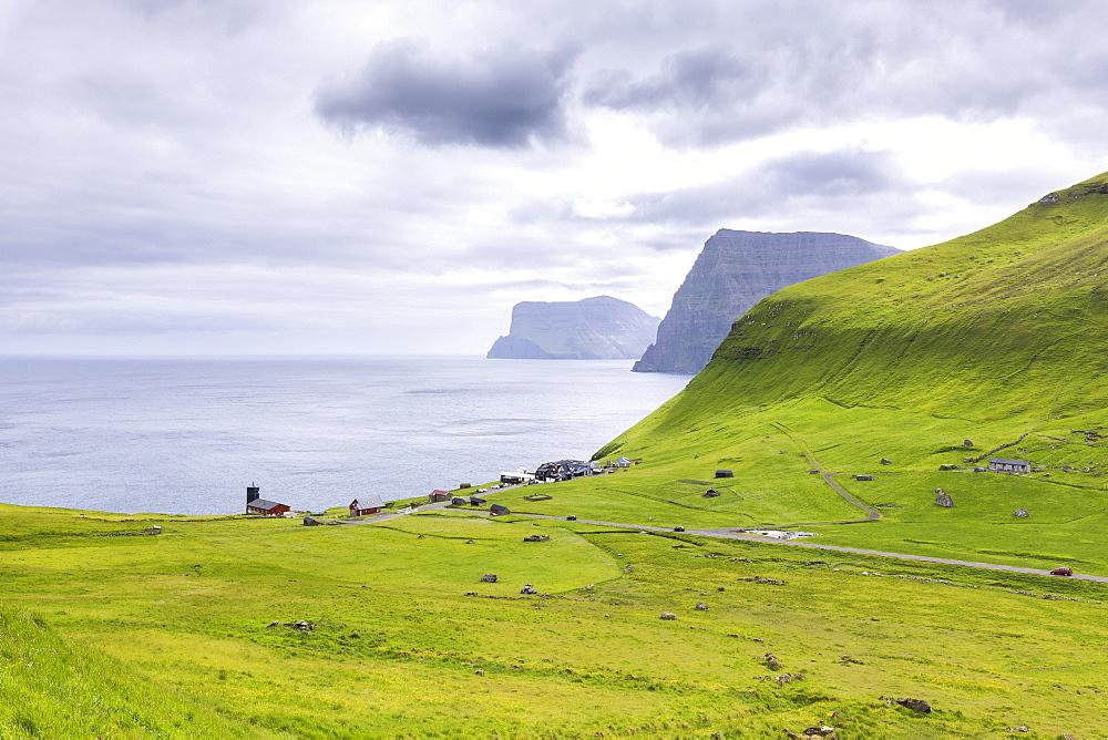 Coastal village of Trollanes, Kalsoy Island, Faroe Islands, Denmark, Europe