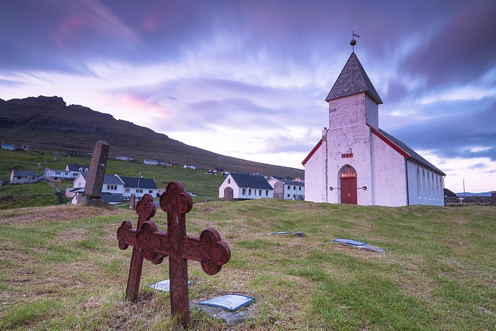 Church of Vidareidi and graveyard, Vidoy Island, Faroe Islands, Denmark, Europe
