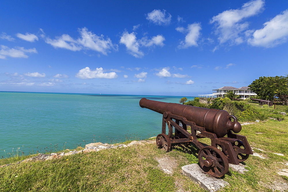 A cannon dating from the 17th century stands guard at Fort James one of the most important historical monuments of Antigua, Leeward Islands, West Indies, Caribbean, Central America