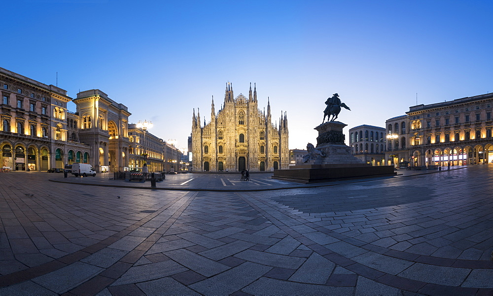 View of Milan Cathedral (Duomo), Galleria Vittorio Emanuele II and Palazzo Reale, Milan, Lombardy, Italy, Europe