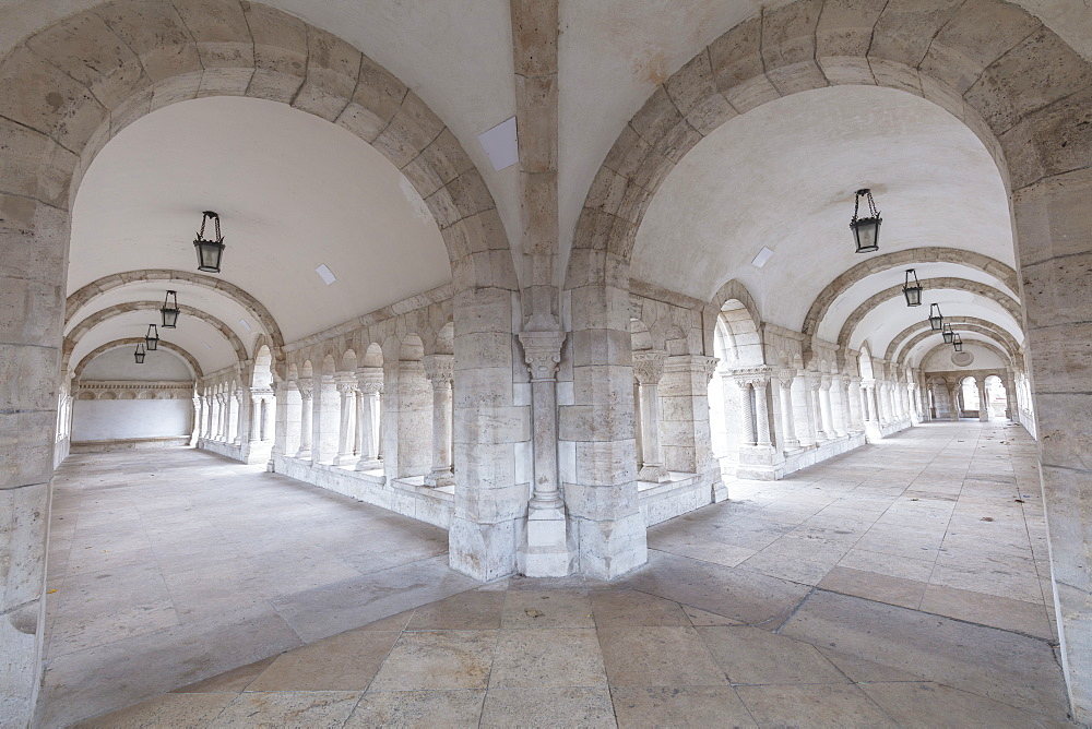 Archways, Fisherman's Bastion, Budapest, Hungary, Europe
