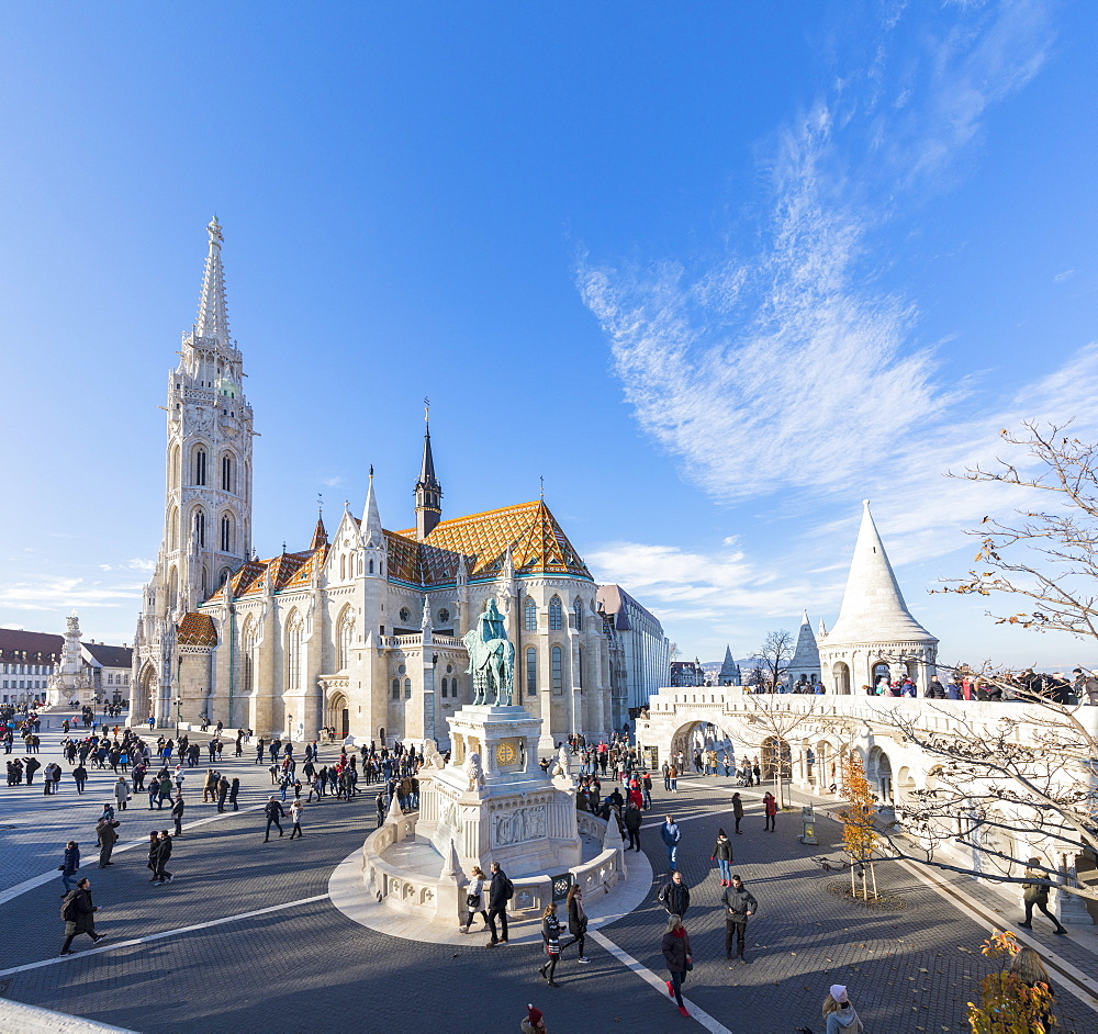 Panoramic of Matthias Church and Fisherman's Bastion, Budapest, Hungary, Europe