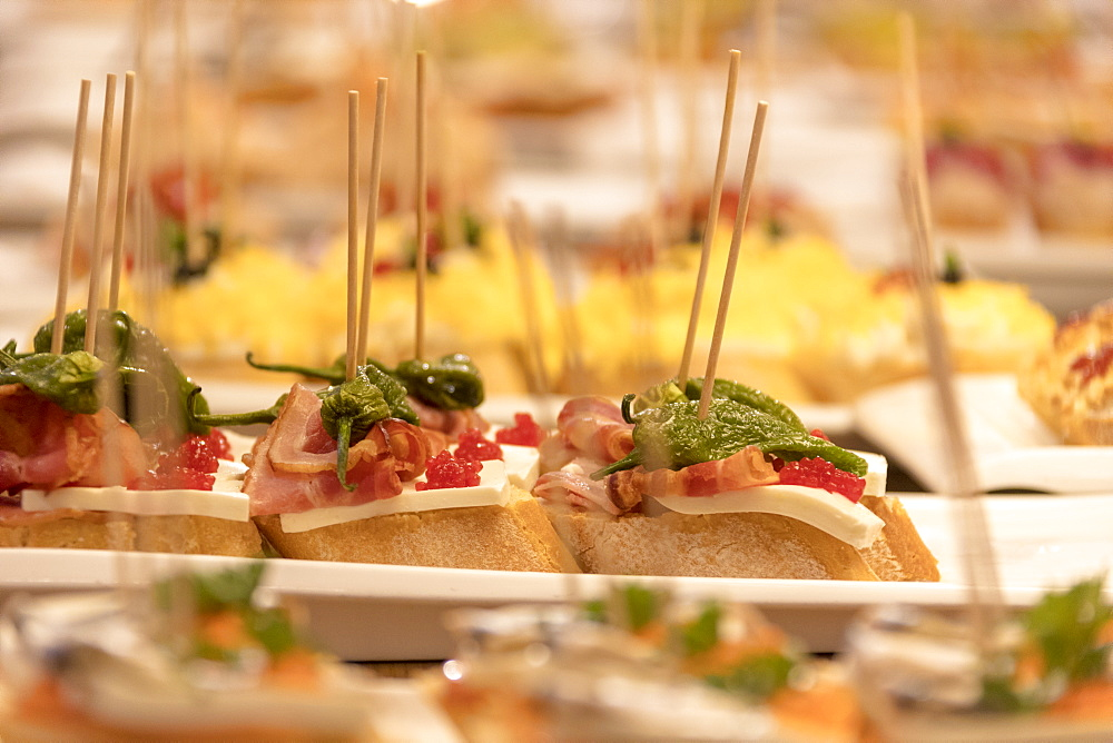Close up of appetizers, Barcelona, Catalonia, Spain, Europe