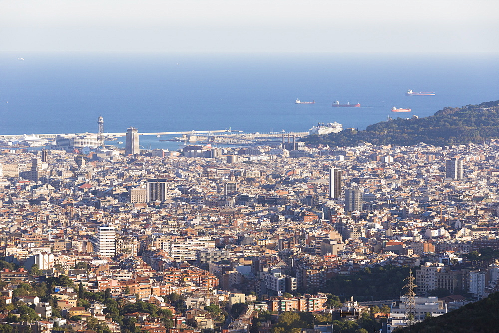 View over Barcelona and harbor, Barcelona, Catalonia, Spain, Europe