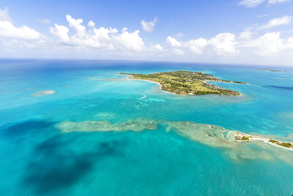 View of Long Island one of the most undisturbed in the world, the island is home to a private resort accessible only by boat, Antigua, Leeward Islands, West Indies, Caribbean, Central America