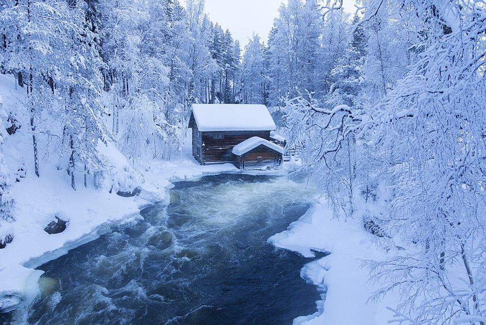 Myllykoski rapids and old mill, Juuma, Oulanka National Park, Kuusamo, Lapland, Finland