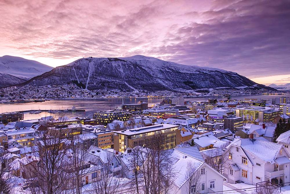 The city of Troms at sunrise, Norway