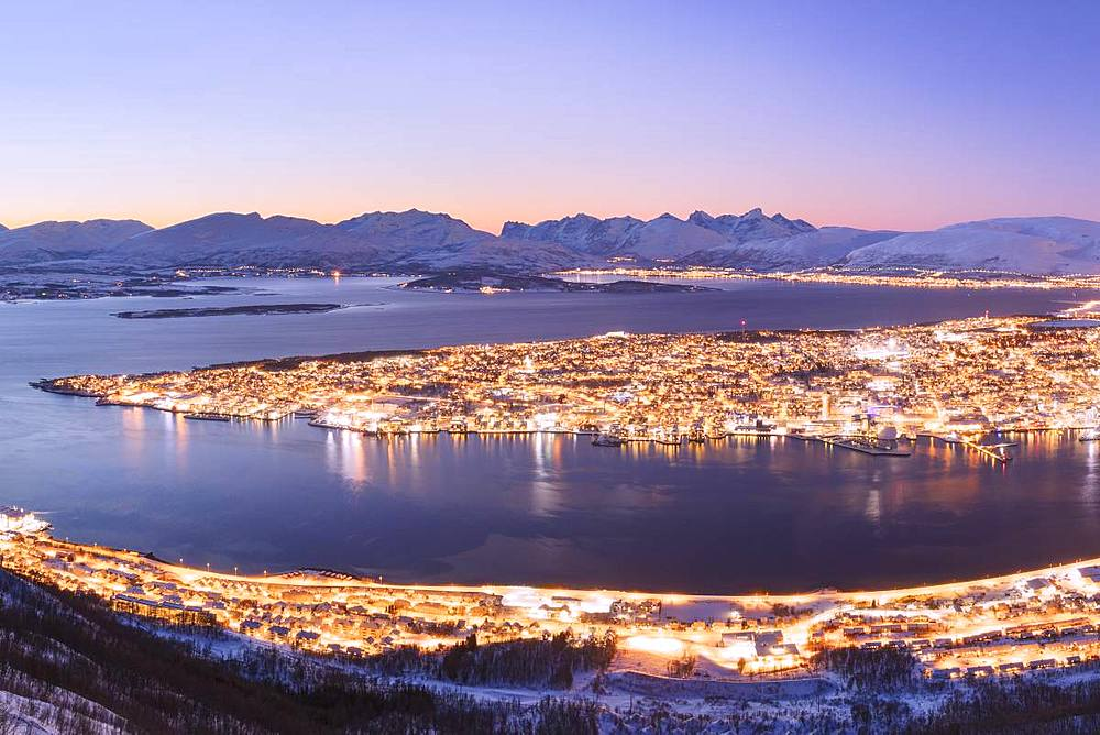 The city of Troms seen from Fjellheisen at dusk, Troms county, Norway