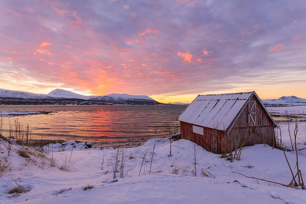 Wood hut by the sea at sunset, Troms, Norway, Scandinavia, Europe