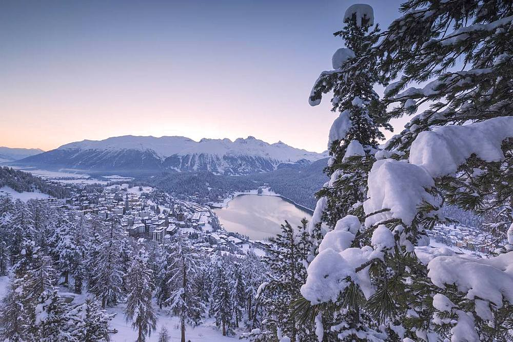 Village and Lake of St.Moritz after a snowfall, canton of Graubunden, Engadin, Switzerland - 1179-3251