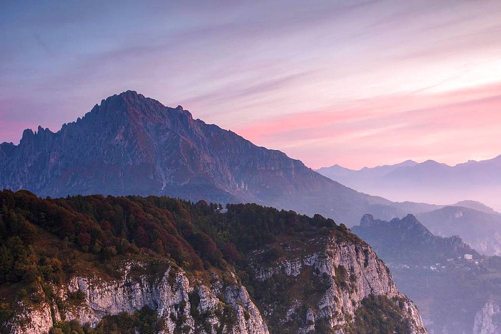 Grigna meridionale at sunrise seen from Monte Coltignone, Lecco, Lombardy, Italy - 1179-3267