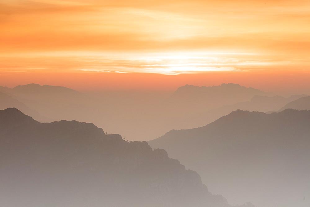 Sunrise on the Bergamo Orobie Alps seen from Monte Coltignone, Lecco, Lombardy, Italy - 1179-3268