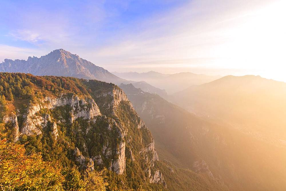 Sunrise on Grigna meridionale seen from Monte Coltignone, Lecco, Lombardy, Italy - 1179-3270