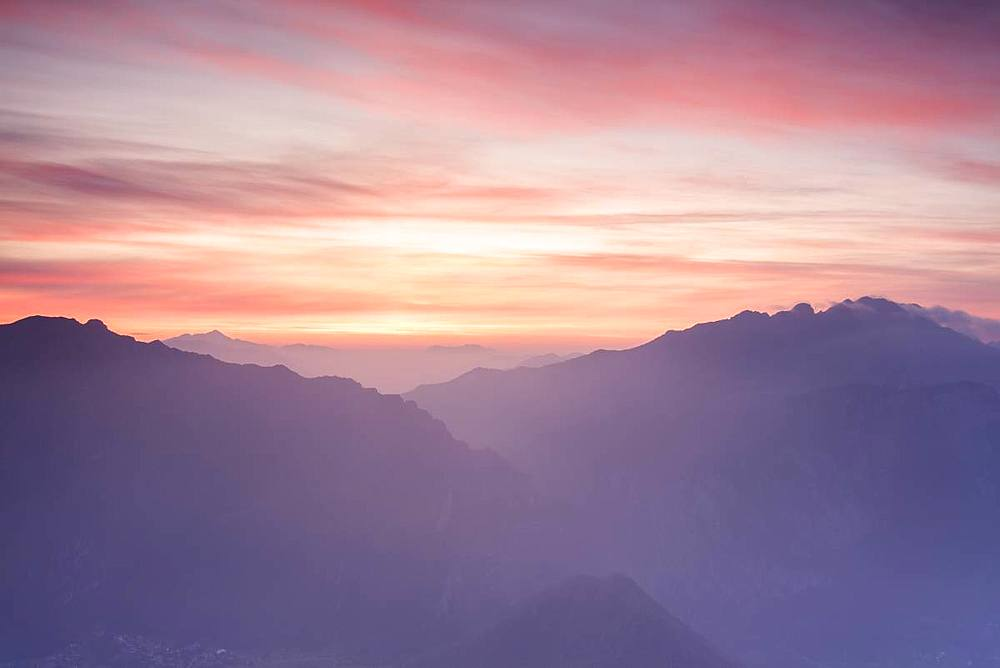 Silhouette of Monte Resegone and Monte Due Mani at dawn, Monte Coltignone, Lecco, Lombardy, Italy - 1179-3272