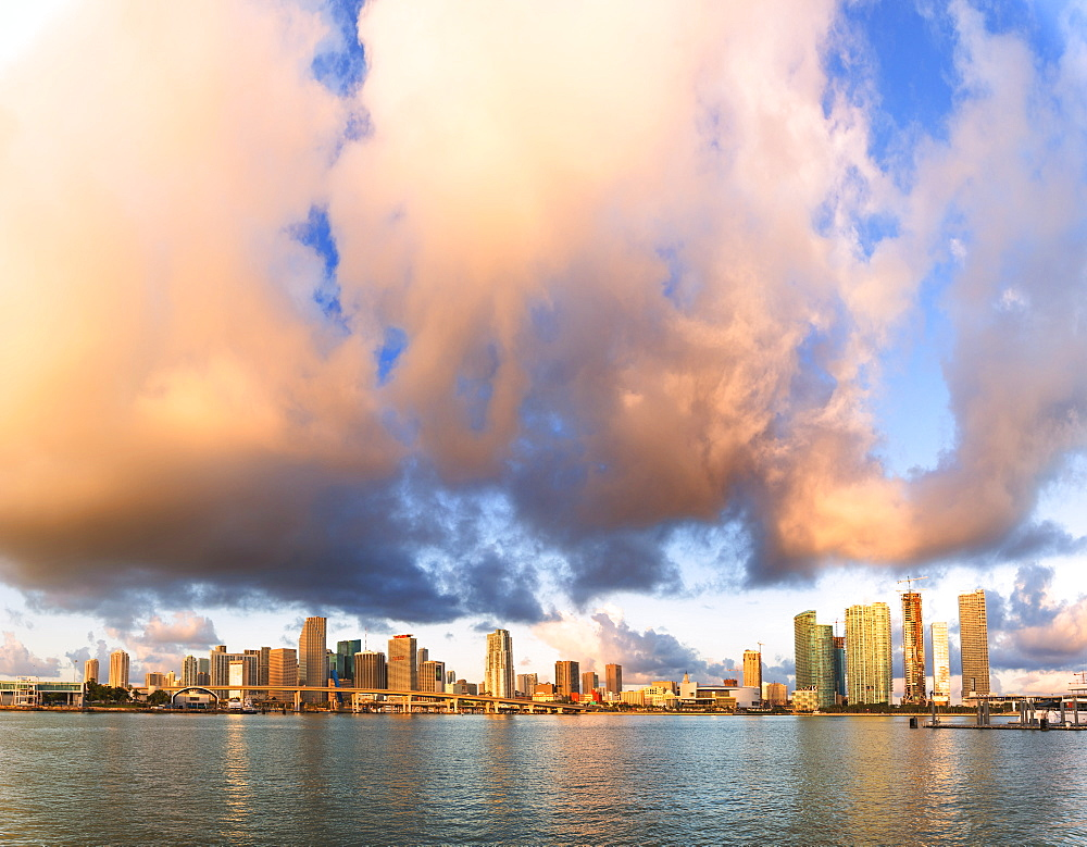 Panoramic of Miami skyline seen from Watson Island, Miami, Florida, United States of America, North America
