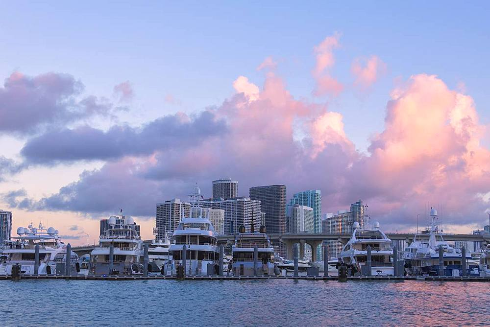 Yacht at the marina and Downtown Miami in background seen from Watson Island, Miami, Florida, United States of America, North America