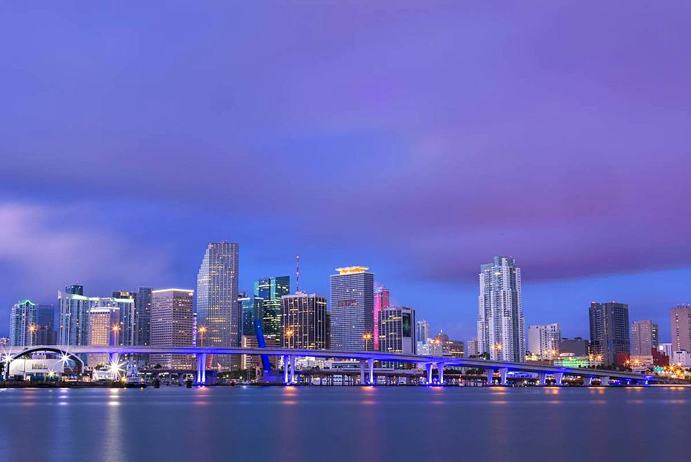 Skyline of Downtown Miami from Watson Island, Miami, Florida, United States of America, North America