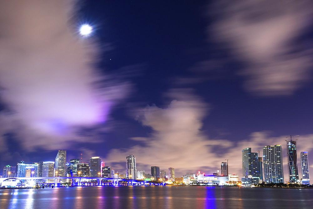 Night skyline of Downtown Miami from Watson Island, Miami, Florida, USA, North America - 1179-3300