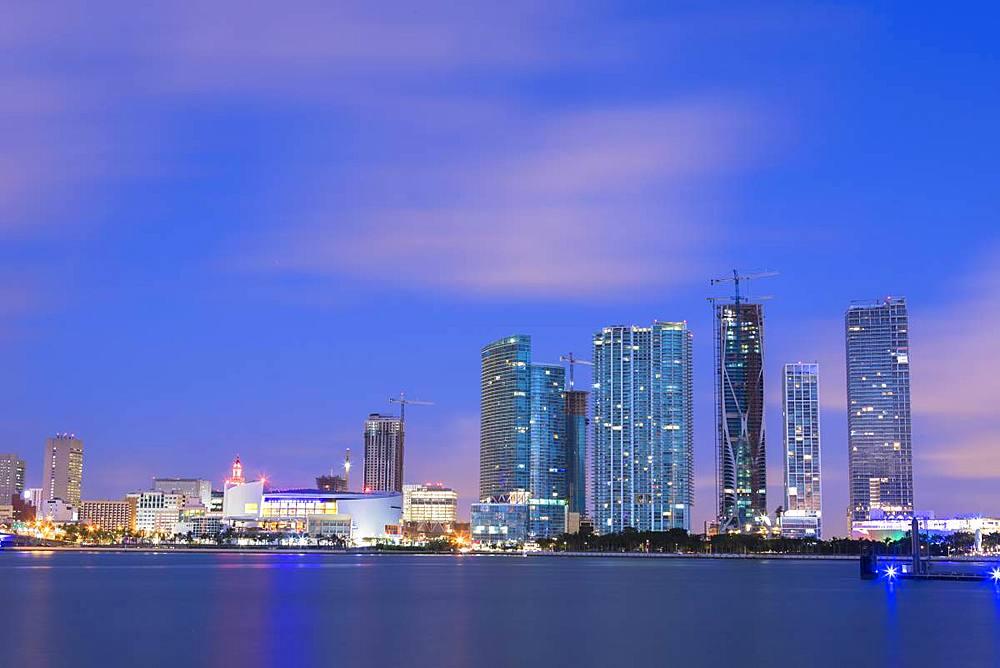 Night skyline of Downtown Miami from Watson Island, Miami, Florida, USA, North America
