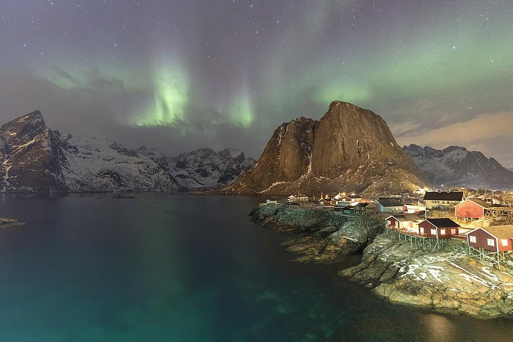 Northern Lights (Aurora borealis), Hamnoy, Lofoten Islands, Nordland, Norway, Europe