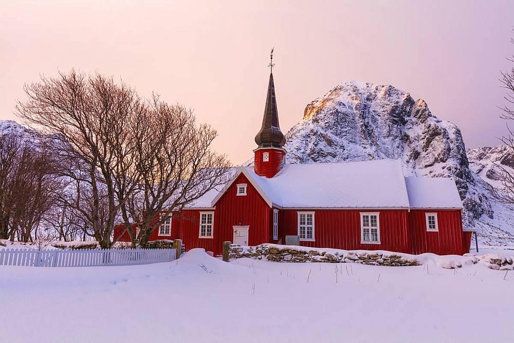 Flakstad church, Lofoten Islands, Nordland, Norway, Europe - 1179-3370
