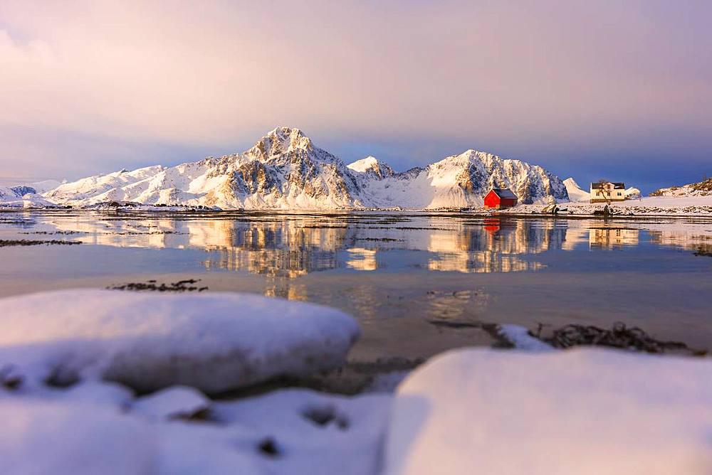 Sunrise at Vagjebukta, Leknes, Lofoten Islands, Nordland, Norway, Europe - 1179-3374