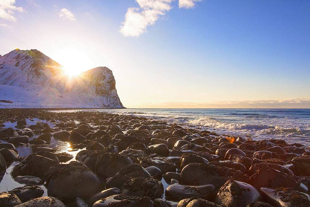 Sunset, Unstad, Vestvagoy, Lofoten Islands, Nordland, Norway, Europe - 1179-3378