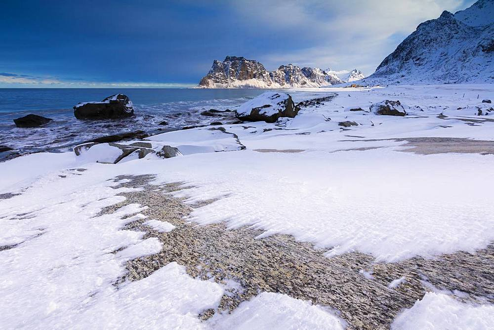 Uttakleiv Beach covered with snow, Vestvagoy, Lofoten Islands, Nordland, Norway, Europe