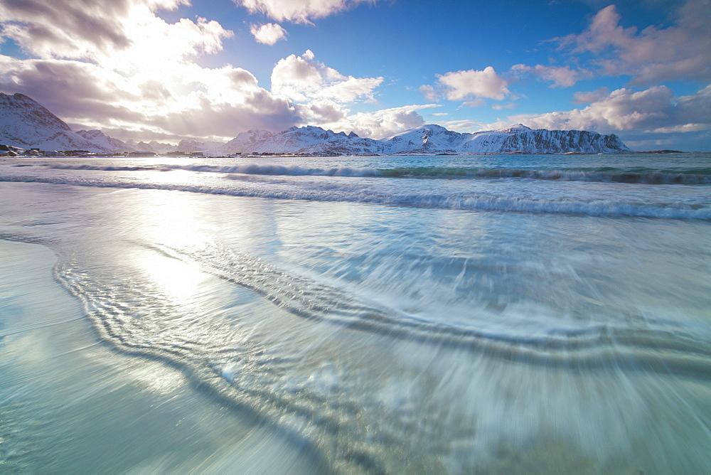 Waves of the icy sea, Ramberg, Flakstad municipality, Lofoten Islands, Nordland, Norway, Europe