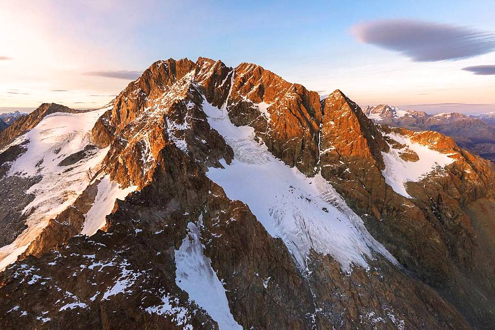 Aerial view of n Monte Disgrazia at sunset, Valmalenco, Val Masino, Valtellina, Lombardy, Italy