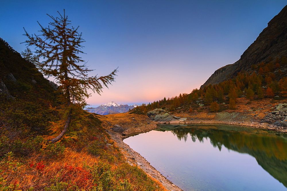 Sunrise on Lakes of Campagneda during autumn, Valmalenco, Valtellina, Sondrio province, Lombardy, Italy, Europe