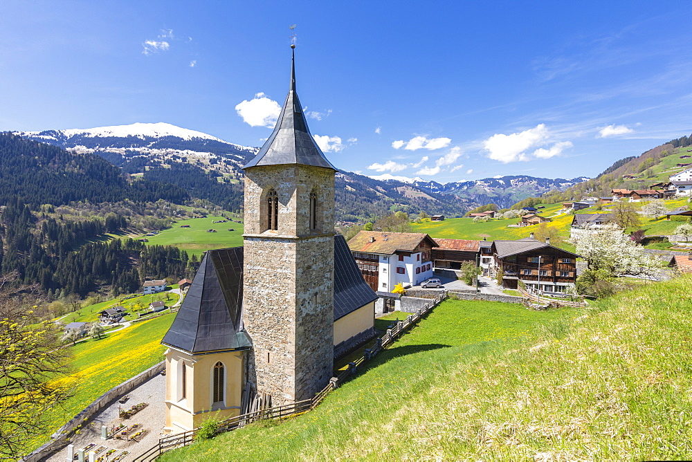 Church of Luzein, Prattigau-Davos region, Canton of Graubunden, Switzerland, Europe