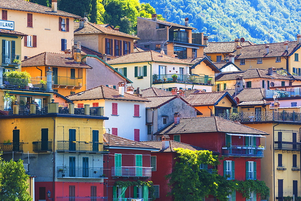 Typical architecture of colorful houses, Varenna, Lake Como, Lecco province, Lombardy, Italian Lakes, Italy, Europe