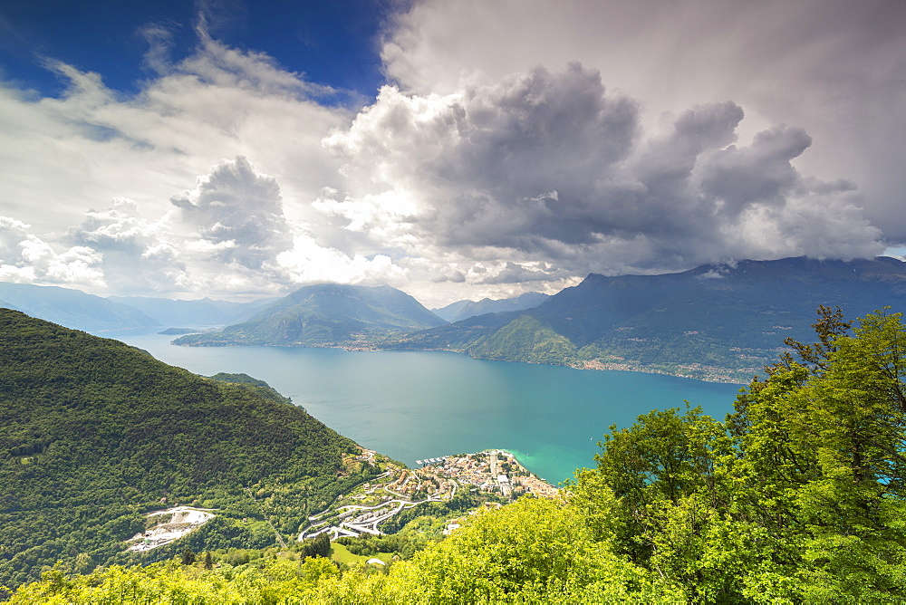 View of Bellano and Lake Como from the green hills of San Grato, Vendrogno, Lecco province, Lombardy, Italian Lakes, Italy, Europe