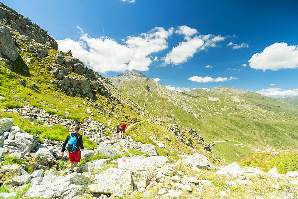 Hikers on footpath towards Pizzo Tambo, Spluga Pass, canton of Graubunden, Switzerland, Europe