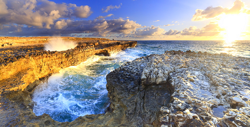 Panoramic of Devil's Bridge at dawn, Antigua, Antigua and Barbuda, Leeward Islands, West Indies, Caribbean, Central America